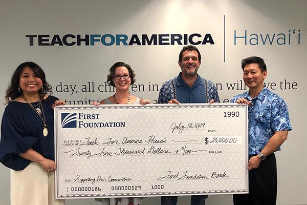 Teach for America Hawaii check presentation