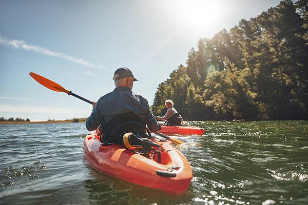 Couple in kayaks